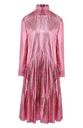 Платье-миди свободного кроя с воротником-стойкой Cedric Charlier розовое | Фото №1