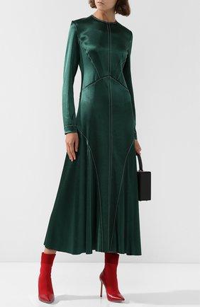 Приталенное платье-миди с круглым вырезом Cedric Charlier зеленое | Фото №1
