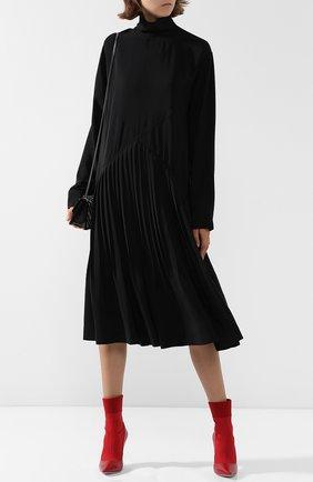 Однотонное платье-миди свободного кроя с воротником-стойкой Cedric Charlier черное | Фото №1