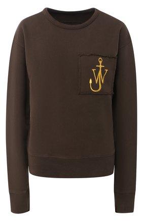 Хлопковый пуловер с круглым вырезом и логотипом бренда J.W. Anderson хаки   Фото №1