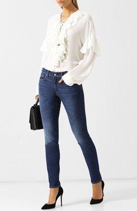 Джинсы прямого кроя с потертостями Polo Ralph Lauren синие | Фото №1