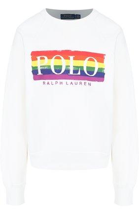 Хлопковый пуловер с логотипом бренда