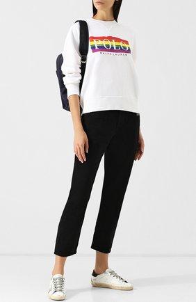 Хлопковый пуловер с логотипом бренда Polo Ralph Lauren белый | Фото №1
