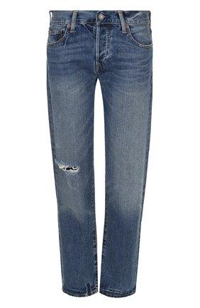 Укороченные джинсы с потертостями Polo Ralph Lauren синие | Фото №1
