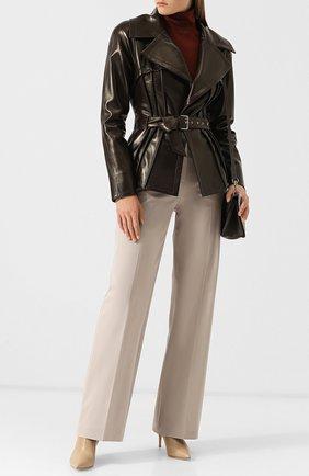 Однотонные расклешенные брюки из хлопка