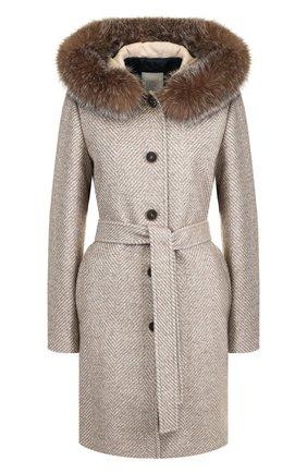 Шерстяное пальто с поясом и капюшоном Eleventy Platinum бежевая | Фото №1