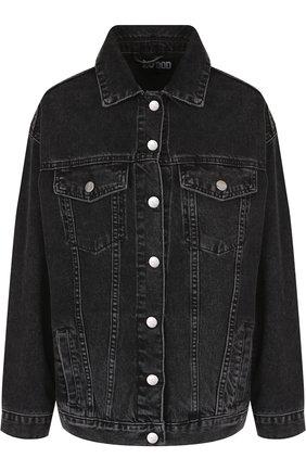 Джинсовая куртка с декоративной отделкой на спине Dalood черная   Фото №1