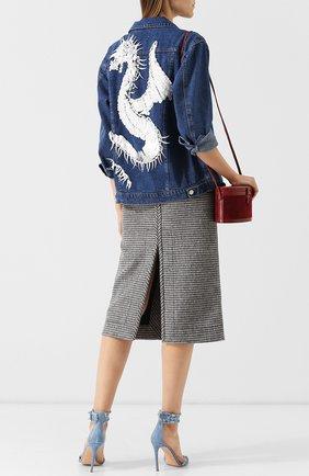Джинсовая куртка с декоративной отделкой на спине Dalood синяя   Фото №1