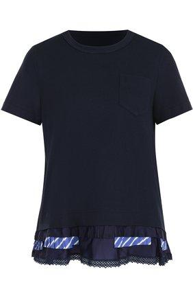 Хлопковая футболка с круглым вырезом и накладным карманом Sacai синяя   Фото №1