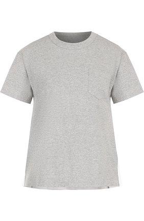 Хлопковая футболка с круглым вырезом и плиссированной вставкой Sacai серая   Фото №1