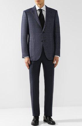 Однобортный пиджак из смеси шелка и кашемира Ermenegildo Zegna синий | Фото №1