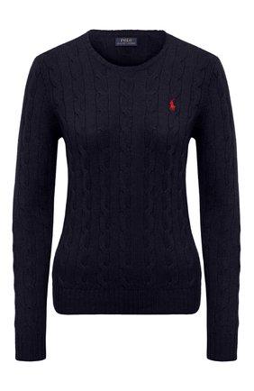 Женский шерстяной пуловер POLO RALPH LAUREN синего цвета, арт. 211525764 | Фото 1 (Материал внешний: Шерсть; Рукава: Длинные; Длина (для топов): Стандартные; Женское Кросс-КТ: Пуловер-одежда)