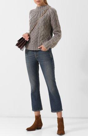 Женские замшевые ботильоны lukas на устойчивом каблуке SAINT LAURENT коричневого цвета, арт. 531129/BPN00   Фото 2