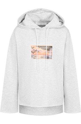 Хлопковый пуловер с капюшоном и принтом Golden Goose Deluxe Brand светло-серый | Фото №1