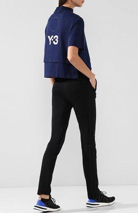 Хлопковый топ с воротником-стойкой и логотипом бренда на спине Y-3 синий | Фото №1