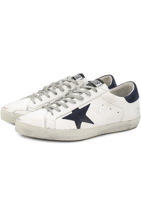 Кожаные кеды Superstar на шнуровке Golden Goose Deluxe Brand белые | Фото №1