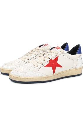 Кожаные кеды Ball Star на шнуровке Golden Goose Deluxe Brand белые | Фото №1