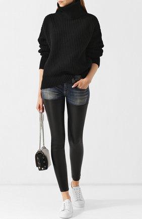 Женские джинсы-скинни из хлопка и кожи R13 синего цвета, арт. R13WM0041-15 | Фото 2