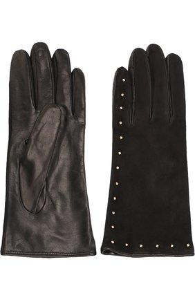 Перчатки из кожи и замши с металлическими заклепками | Фото №2