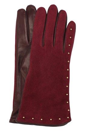 Перчатки из кожи и замши с металлическими заклепками | Фото №1