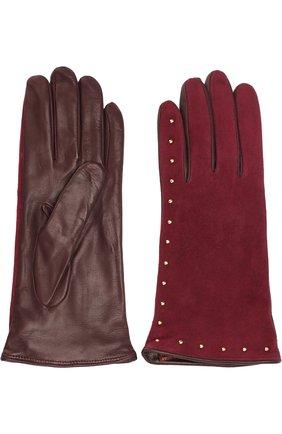 Перчатки из кожи и замши с металлическими заклепками Sermoneta Gloves бордовые | Фото №1