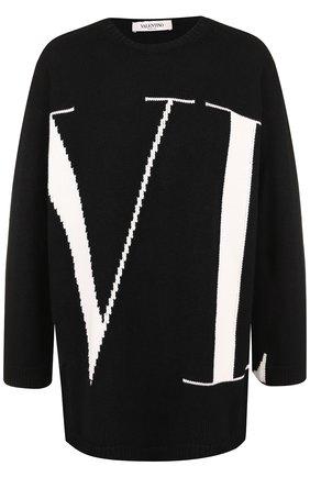 Женский кашемировый пуловер с вышитым логотипом бренда VALENTINO черно-белого цвета, арт. QB3KC121499 | Фото 1