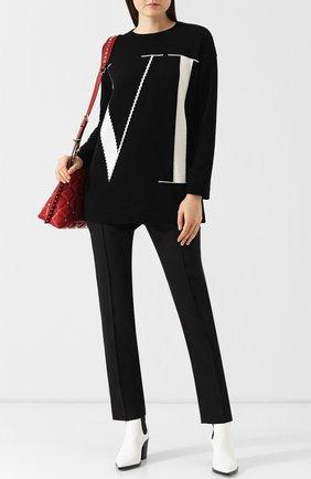 Женский кашемировый пуловер с вышитым логотипом бренда VALENTINO черно-белого цвета, арт. QB3KC121499 | Фото 2