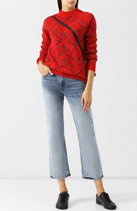 Укороченные расклешенные джинсы с потертостями R13 голубые   Фото №1