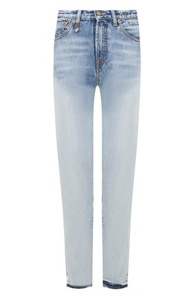 Укороченные джинсы с потертостями R13 голубые   Фото №1