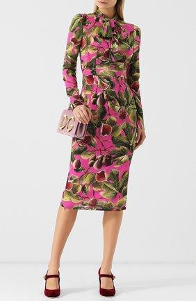 Шелковое платье-миди с принтом и воротником аскот
