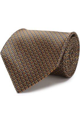 Мужской шелковый галстук с узором KITON желтого цвета, арт. UCRVKLC02F98 | Фото 1
