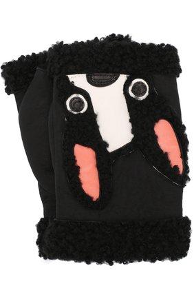 Замшевые митенки с аппликацией Agnelle черные | Фото №1