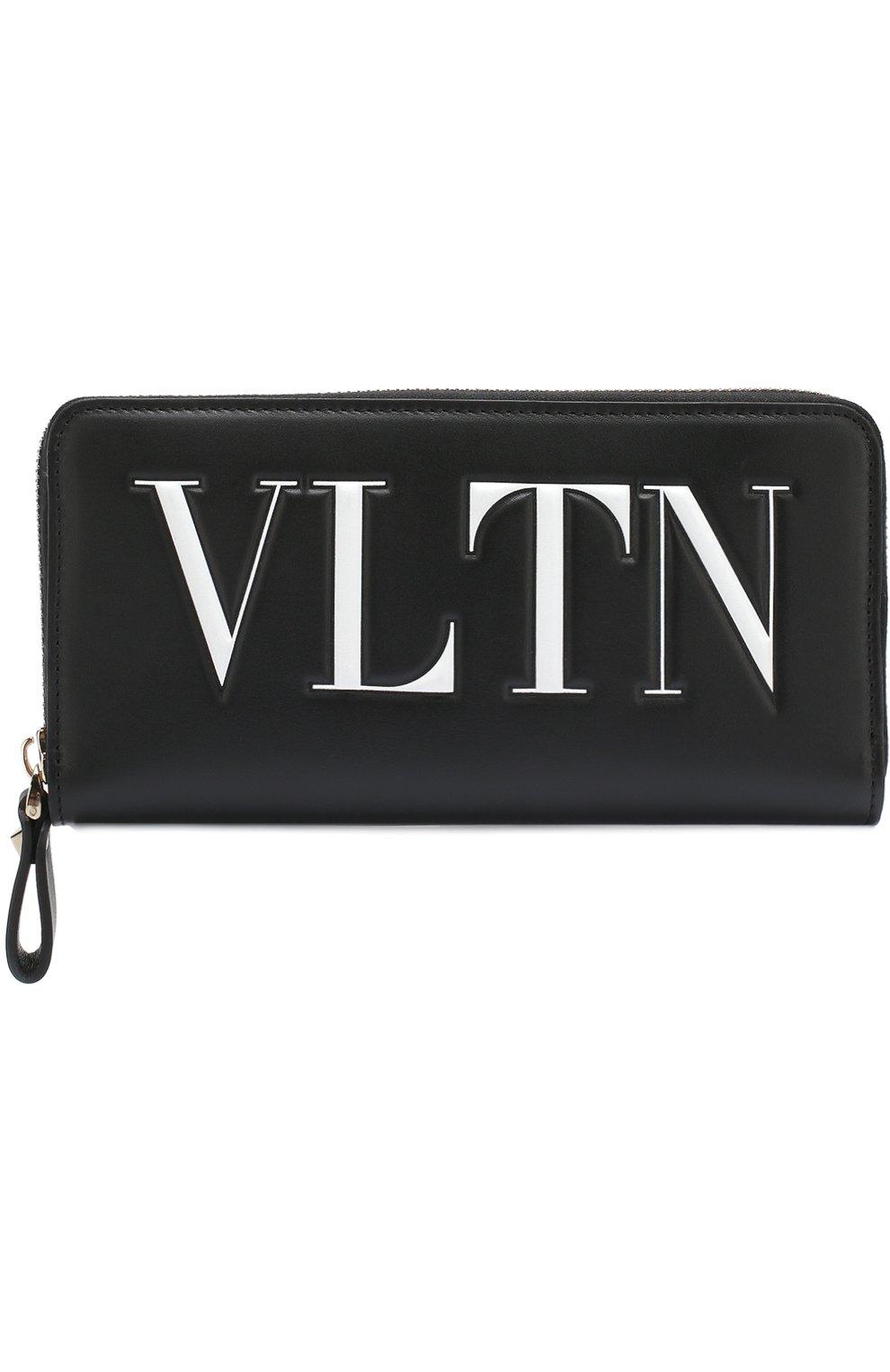 Кожаный кошелек на молнии VLTN Valentino черно-белого цвета | Фото №1