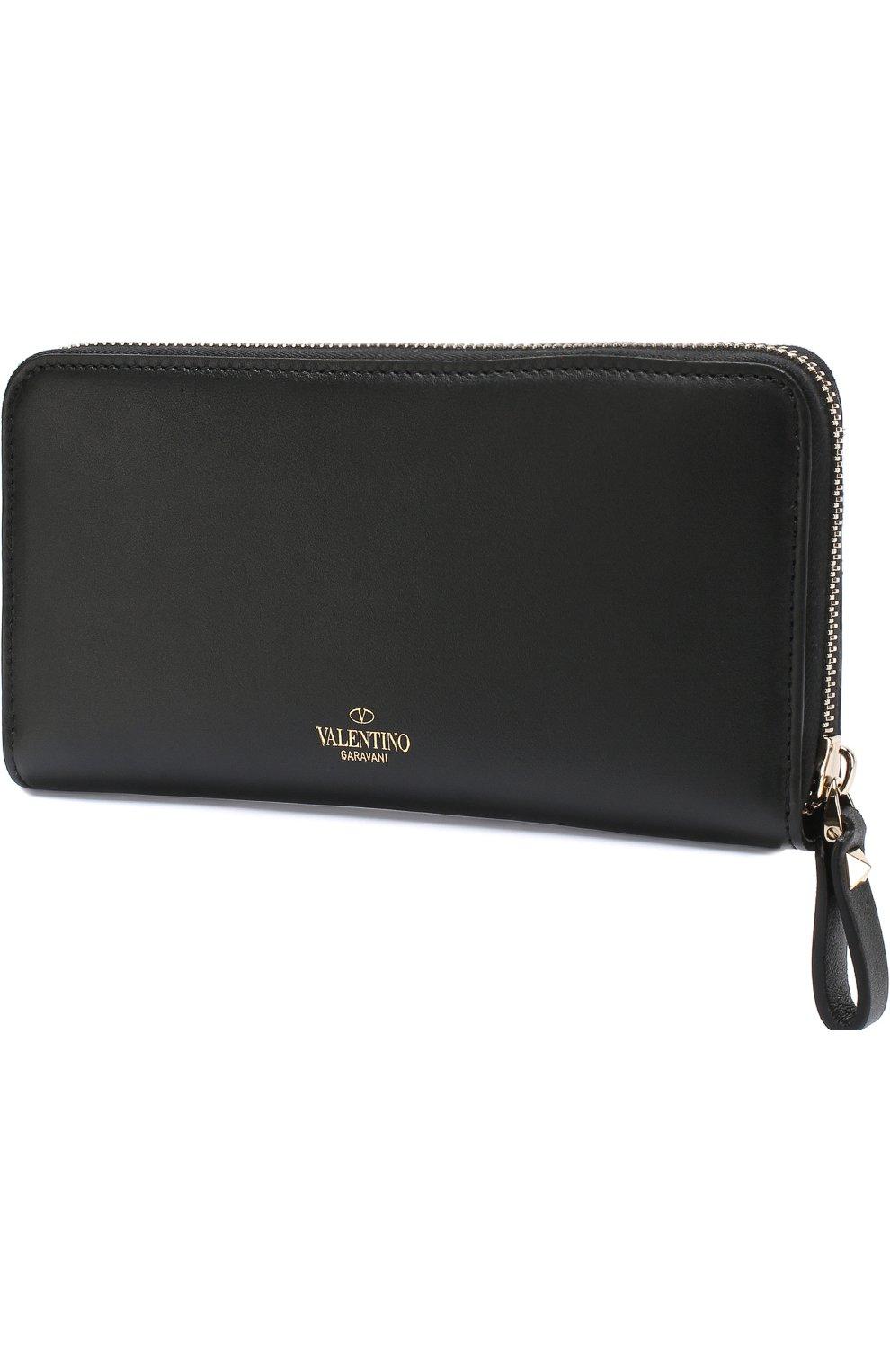 Кожаный кошелек на молнии VLTN Valentino черно-белого цвета | Фото №2