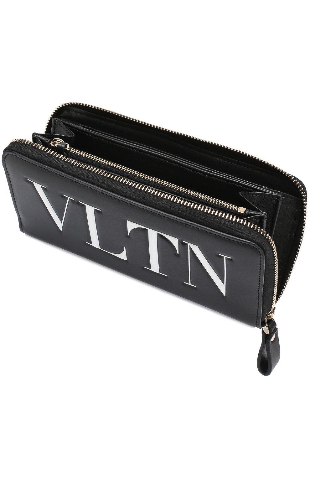 Кожаный кошелек на молнии VLTN Valentino черно-белого цвета | Фото №3