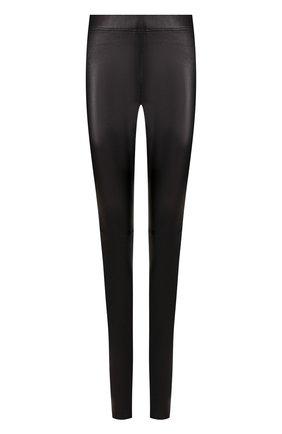 Женские кожаные леггинсы с эластичным поясом JOSEPH черного цвета, арт. JF000180 | Фото 1