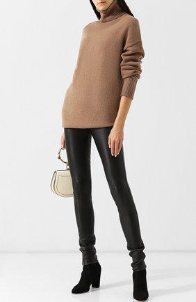 Женские кожаные леггинсы с эластичным поясом JOSEPH черного цвета, арт. JF000180 | Фото 2
