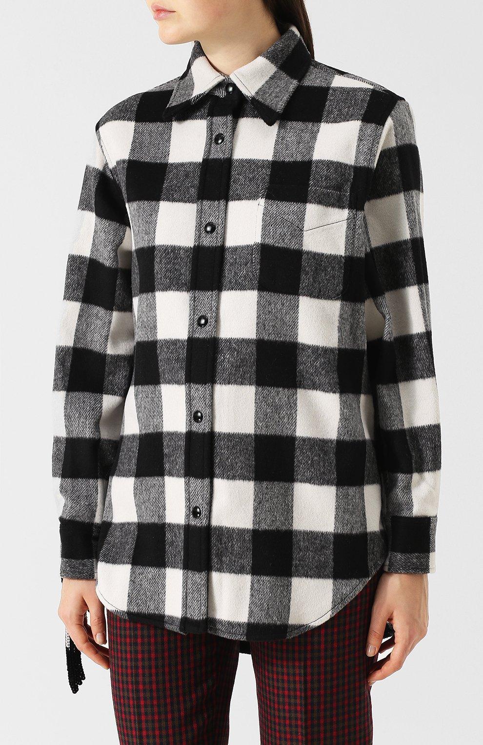 116d4c32c16 Женская черно-белая шерстяная рубашка в клетку NO. 21 — купить за ...