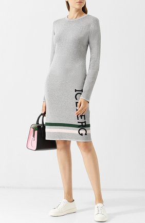 Приталенное платье-миди с круглым вырезом и логотипом бренда Iceberg серебряное   Фото №1