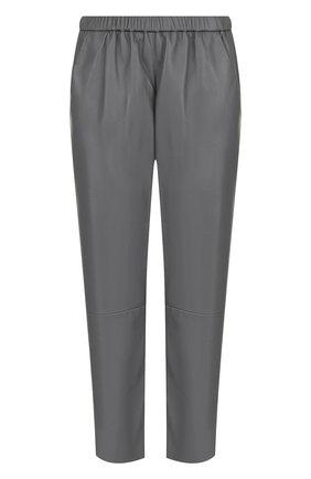 Укороченные кожаные брюки с эластичным поясом | Фото №1