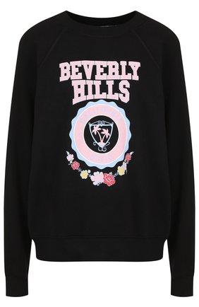 Хлопковый пуловер с круглым вырезом и принтом Wildfox черный   Фото №1