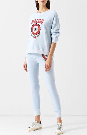 Хлопковый пуловер с круглым вырезом и принтом Wildfox голубой   Фото №1
