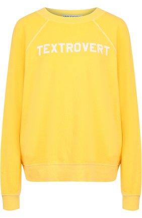 Хлопковый пуловер с круглым вырезом и надписью Wildfox желтый   Фото №1
