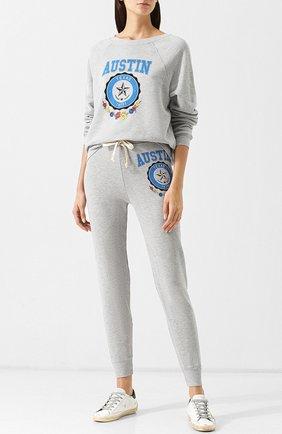 Хлопковый пуловер с круглым вырезом и принтом Wildfox серый   Фото №1