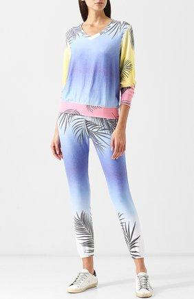 Укороченные брюки с эластичным поясом и принтом Wildfox разноцветные   Фото №1