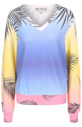 Пуловер с V-образным вырезом и принтом Wildfox разноцветный   Фото №1