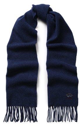 Шерстяной шарф с бахромой и логотипом бренда   Фото №1