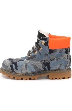 Детские кожаные ботинки с внутренней меховой отделкой и застежкой велькро Rondinella серого цвета | Фото №1