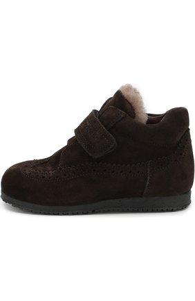 Детские замшевые ботинки с внутренней меховой отделкой и застежкой велькро Rondinella коричневого цвета | Фото №1