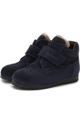 Детские замшевые ботинки с внутренней меховой отделкой и застежкой велькро Rondinella синего цвета | Фото №1